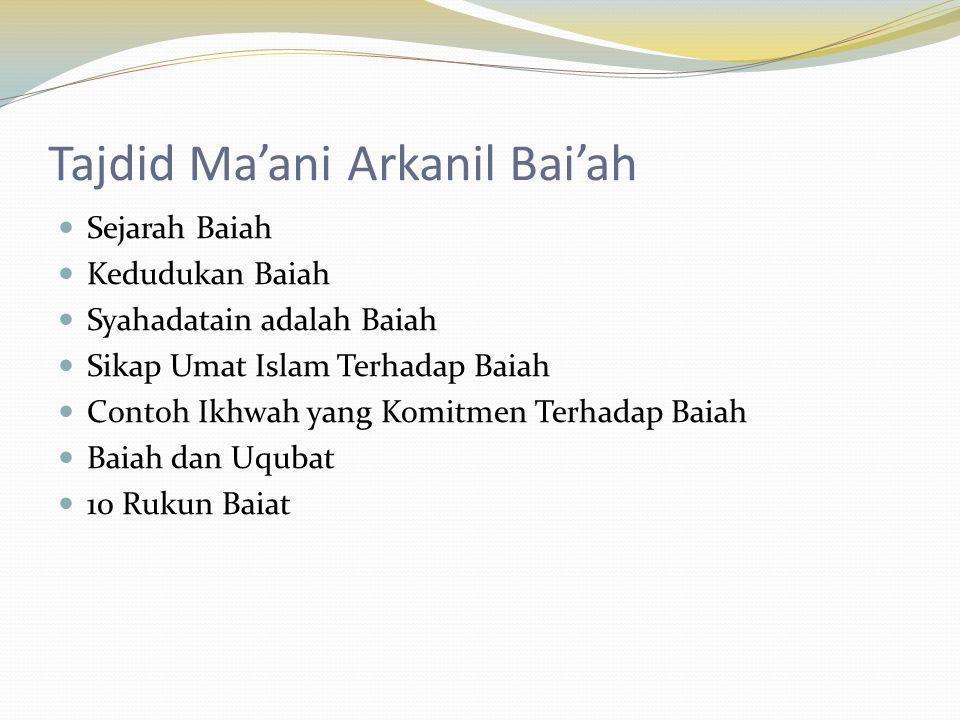 Tajdid Ma'ani Arkanil Bai'ah Sejarah Baiah Kedudukan Baiah Syahadatain adalah Baiah Sikap Umat Islam Terhadap Baiah Contoh Ikhwah yang Komitmen Terhad