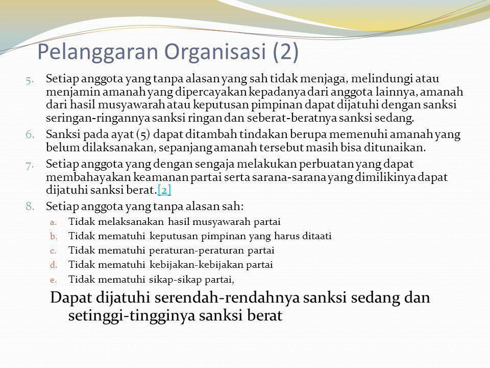 Pelanggaran Organisasi (2) 5. Setiap anggota yang tanpa alasan yang sah tidak menjaga, melindungi atau menjamin amanah yang dipercayakan kepadanya dar