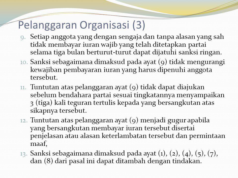 Pelanggaran Organisasi (3) 9. Setiap anggota yang dengan sengaja dan tanpa alasan yang sah tidak membayar iuran wajib yang telah ditetapkan partai sel