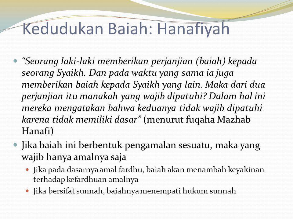 """Kedudukan Baiah: Hanafiyah """"Seorang laki-laki memberikan perjanjian (baiah) kepada seorang Syaikh. Dan pada waktu yang sama ia juga memberikan baiah k"""