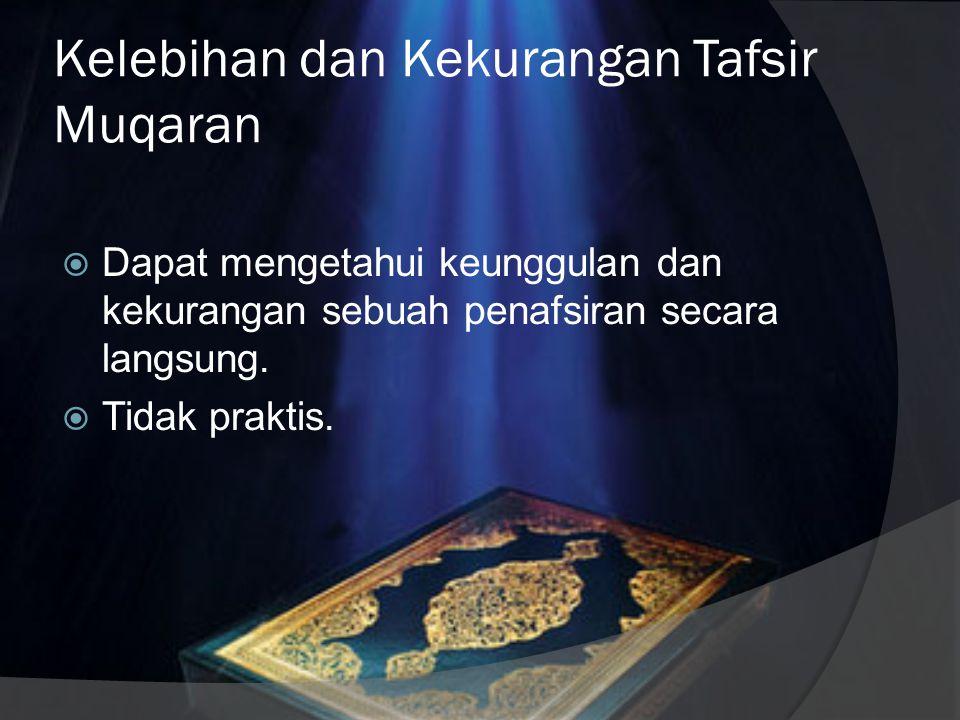 Karakteristik Metode Tafsir Muqaran  Memuat sebuah perbandingan ayat, surah, tema, dan kumpulan ayat tertentu.  Bisa menggunakan perangkat penafsira