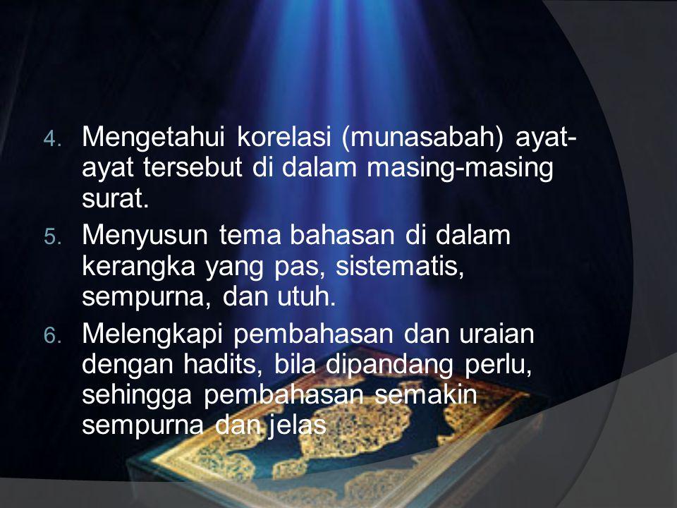 Langkah Tafsir Maudhu'i Menurut Al-Farmawi ada 7 langkah: 1. Memilih dan menetapkan masalah al- Qur'.an yang akan dikaji. 2. Melacak dan menghimpun ay