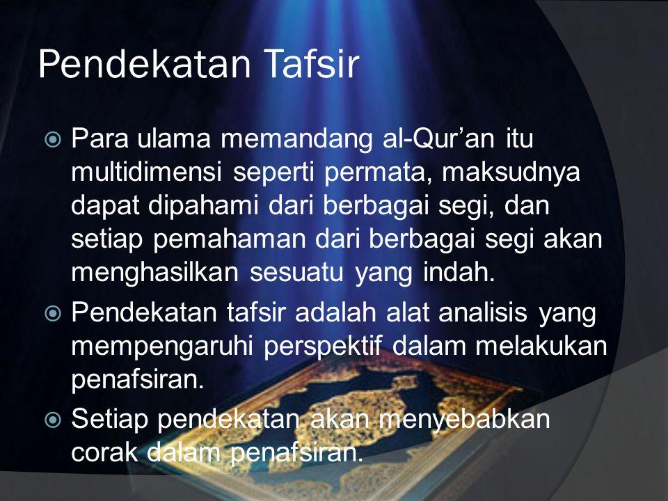 Perangkat Analisis Tafsir Dalam tafsir ada dua perangkat analisis yang digunakan; 1. Bil ma'tsur (dengan riwayat), maksudnya ayat dijelaskan dengan ay