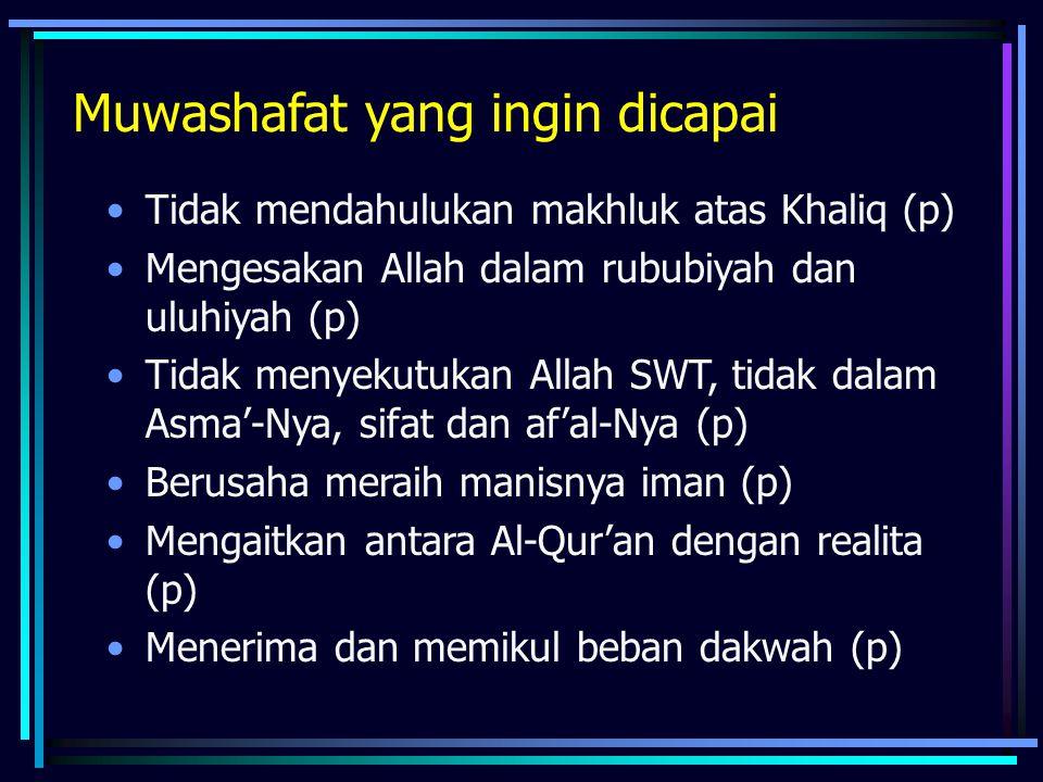 Muwashafat yang ingin dicapai Tidak mendahulukan makhluk atas Khaliq (p) Mengesakan Allah dalam rububiyah dan uluhiyah (p) Tidak menyekutukan Allah SW