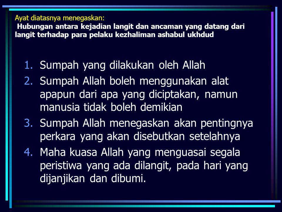 Ayat diatasnya menegaskan: Hubungan antara kejadian langit dan ancaman yang datang dari langit terhadap para pelaku kezhaliman ashabul ukhdud 1.Sumpah