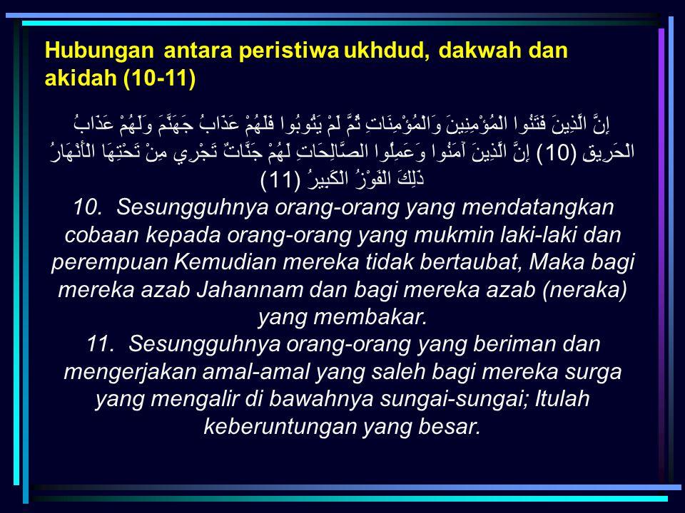 Hubungan antara peristiwa ukhdud, dakwah dan akidah (10-11) إِنَّ الَّذِينَ فَتَنُوا الْمُؤْمِنِينَ وَالْمُؤْمِنَاتِ ثُمَّ لَمْ يَتُوبُوا فَلَهُمْ عَذ