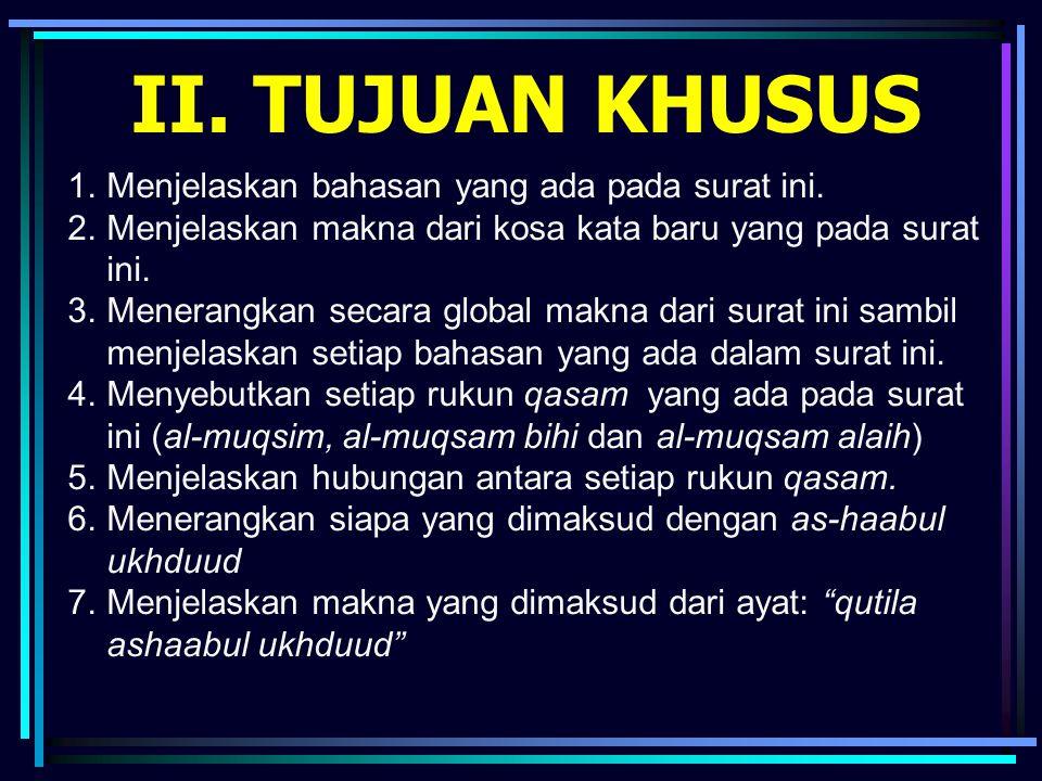 Isi surat (tilawah bersama-sama) وَالسَّمَاءِ ذَاتِ الْبُرُوجِ (1) وَالْيَوْمِ الْمَوْعُودِ (2) وَشَاهِدٍ وَمَشْهُودٍ (3) قُتِلَ أَصْحَابُ الْأُخْدُودِ (4) النَّارِ ذَاتِ الْوَقُودِ (5) إِذْ هُمْ عَلَيْهَا قُعُودٌ (6) وَهُمْ عَلَى مَا يَفْعَلُونَ بِالْمُؤْمِنِينَ شُهُودٌ (7) وَمَا نَقَمُوا مِنْهُمْ إِلَّا أَنْ يُؤْمِنُوا بِاللَّهِ الْعَزِيزِ الْحَمِيدِ (8) الَّذِي لَهُ مُلْكُ السَّمَاوَاتِ وَالْأَرْضِ وَاللَّهُ عَلَى كُلِّ شَيْءٍ شَهِيدٌ (9) إِنَّ الَّذِينَ فَتَنُوا الْمُؤْمِنِينَ وَالْمُؤْمِنَاتِ ثُمَّ لَمْ يَتُوبُوا فَلَهُمْ عَذَابُ جَهَنَّمَ وَلَهُمْ عَذَابُ الْحَرِيقِ (10) إِنَّ الَّذِينَ آَمَنُوا وَعَمِلُوا الصَّالِحَاتِ لَهُمْ جَنَّاتٌ تَجْرِي مِنْ تَحْتِهَا الْأَنْهَارُ ذَلِكَ الْفَوْزُ الْكَبِيرُ (11) إِنَّ بَطْشَ رَبِّكَ لَشَدِيدٌ (12) إِنَّهُ هُوَ يُبْدِئُ وَيُعِيدُ (13) وَهُوَ الْغَفُورُ الْوَدُودُ (14) ذُو الْعَرْشِ الْمَجِيدُ (15) فَعَّالٌ لِمَا يُرِيدُ (16) هَلْ أَتَاكَ حَدِيثُ الْجُنُودِ (17) فِرْعَوْنَ وَثَمُودَ (18) بَلِ الَّذِينَ كَفَرُوا فِي تَكْذِيبٍ (19) وَاللَّهُ مِنْ وَرَائِهِمْ مُحِيطٌ (20) بَلْ هُوَ قُرْآَنٌ مَجِيدٌ (21) فِي لَوْحٍ مَحْفُوظٍ (22)