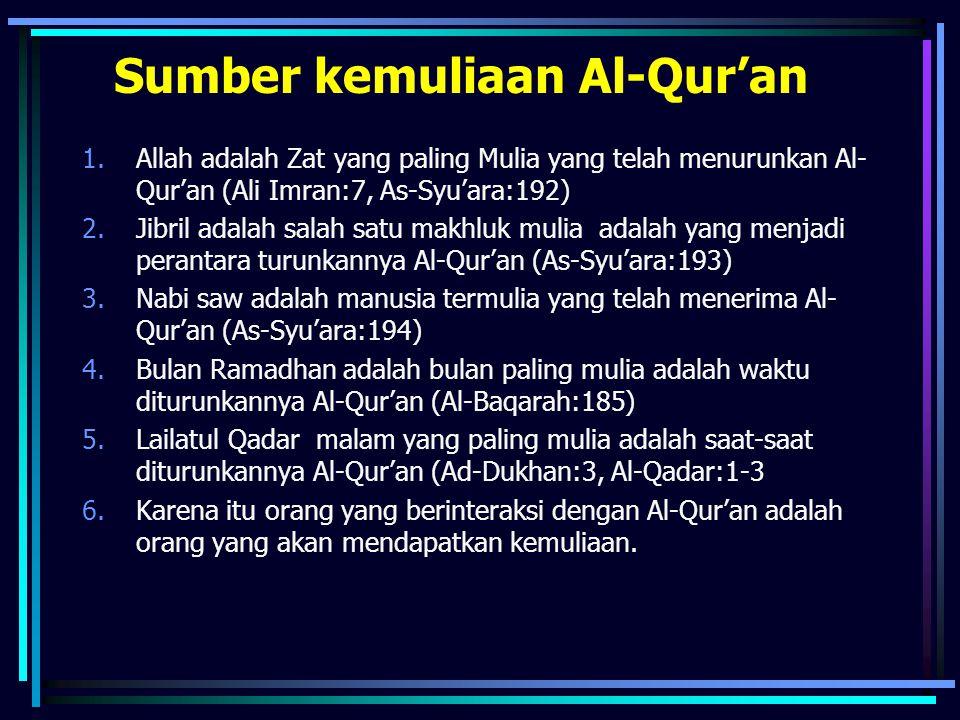 Sumber kemuliaan Al-Qur'an 1.Allah adalah Zat yang paling Mulia yang telah menurunkan Al- Qur'an (Ali Imran:7, As-Syu'ara:192) 2.Jibril adalah salah s
