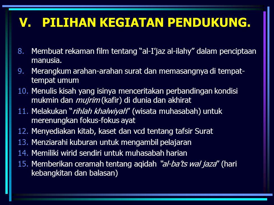 """V. PILIHAN KEGIATAN PENDUKUNG. 8.Membuat rekaman film tentang """"al-I'jaz al-ilahy"""" dalam penciptaan manusia. 9.Merangkum arahan-arahan surat dan memasa"""