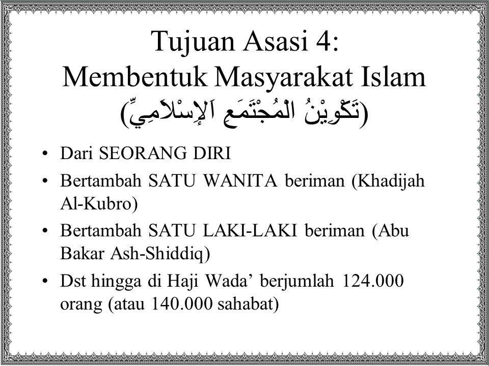 Tujuan Asasi 4: Membentuk Masyarakat Islam ( تَكْوِيْنُ الْمُجْتَمَعِ اَلإِسْلاَمِيِّ ) Dari SEORANG DIRI Bertambah SATU WANITA beriman (Khadijah Al-K