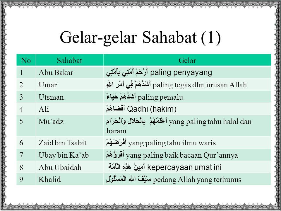 Gelar-gelar Sahabat (1) NoSahabatGelar 1Abu Bakar أَرْحَمُ أُمَّتِي بِأُمَّتِي paling penyayang 2Umar أَشَدُّهُمْ فِي أَمْرِ اللهِ paling tegas dlm ur