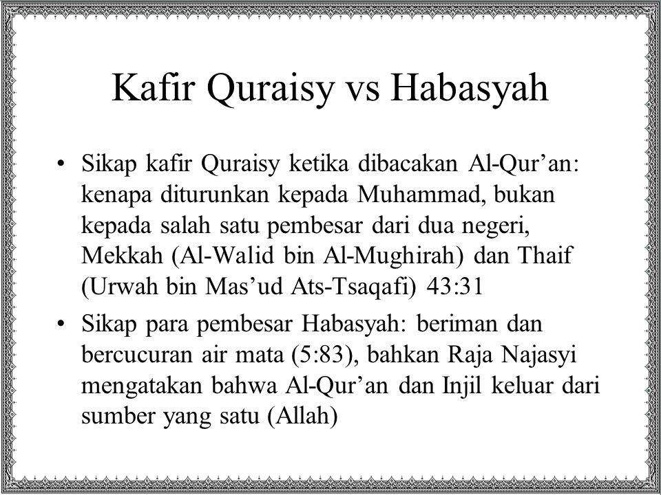 Kafir Quraisy vs Habasyah Sikap kafir Quraisy ketika dibacakan Al-Qur'an: kenapa diturunkan kepada Muhammad, bukan kepada salah satu pembesar dari dua