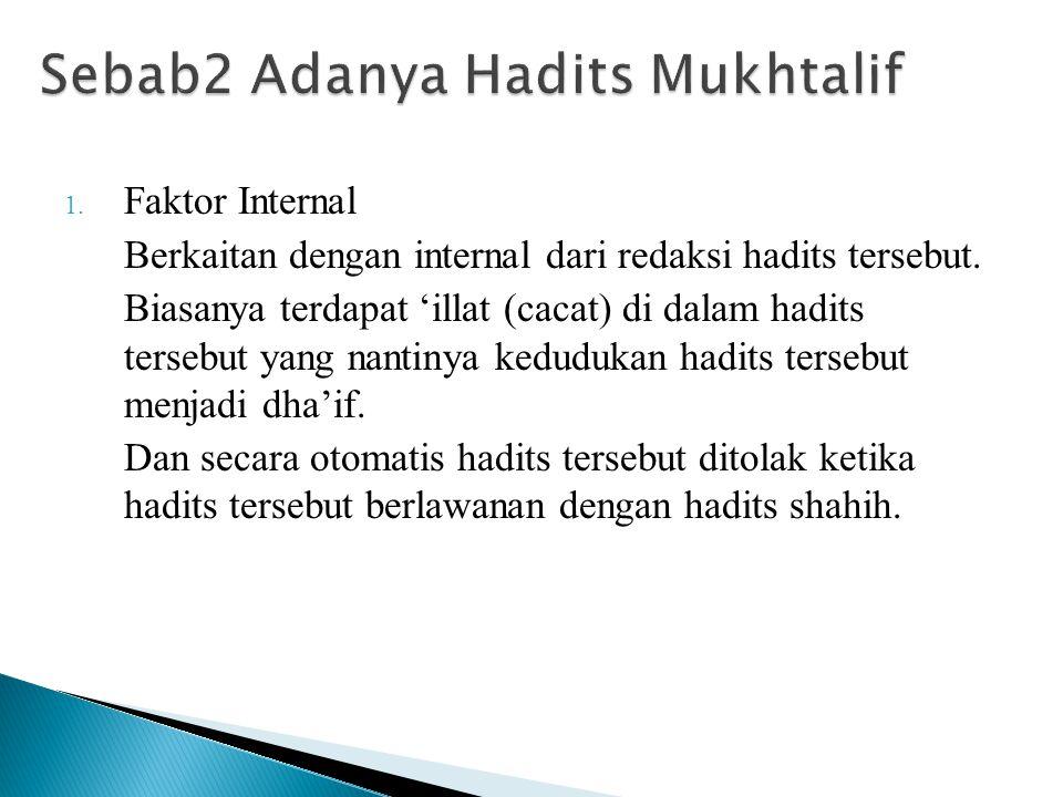 1. Faktor Internal Berkaitan dengan internal dari redaksi hadits tersebut. Biasanya terdapat 'illat (cacat) di dalam hadits tersebut yang nantinya ked