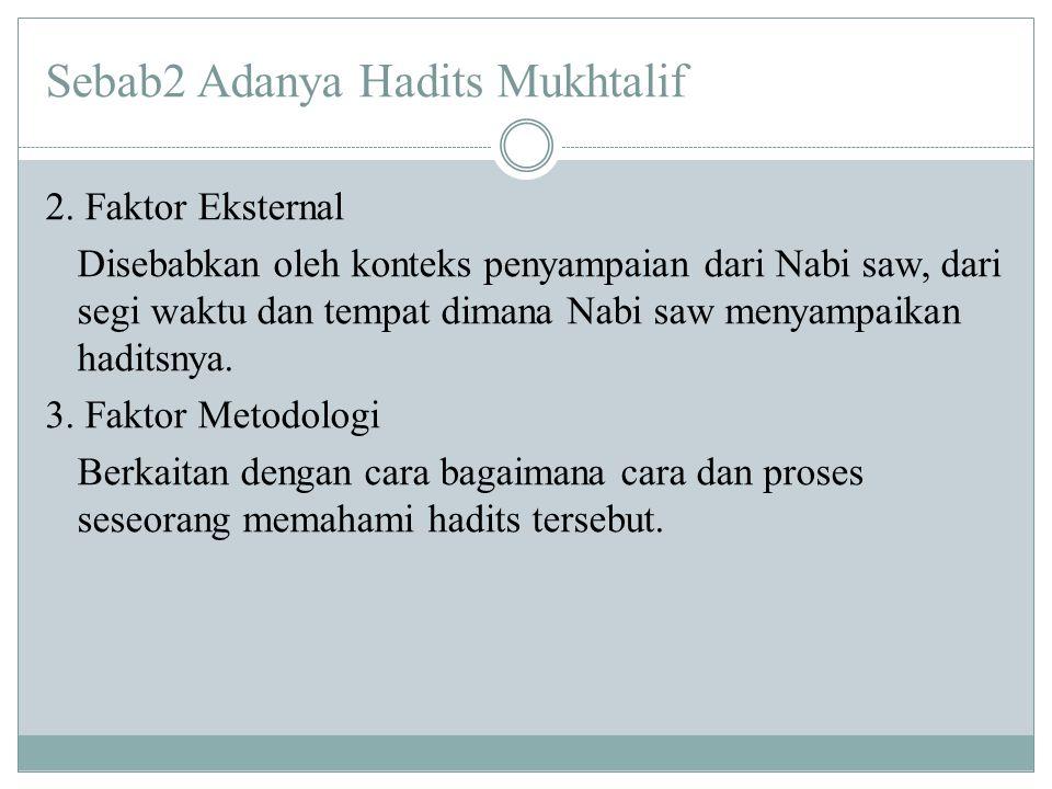 Sebab2 Adanya Hadits Mukhtalif 2. Faktor Eksternal Disebabkan oleh konteks penyampaian dari Nabi saw, dari segi waktu dan tempat dimana Nabi saw menya
