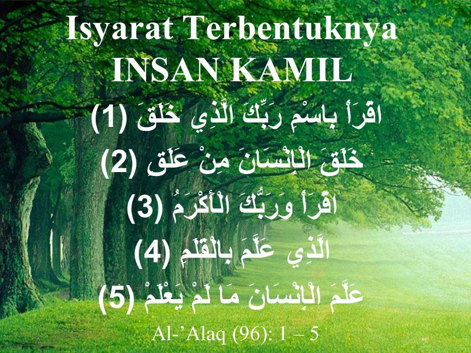 Isyarat Terbentuknya INSAN KAMIL اقْرَأْ بِاسْمِ رَبِّكَ الَّذِي خَلَقَ ( 1) خَلَقَ الْإِنْسَانَ مِنْ عَلَقٍ ( 2) اقْرَأْ وَرَبُّكَ الْأَكْرَمُ ( 3) الَّذِي عَلَّمَ بِالْقَلَمِ ( 4) عَلَّمَ الْإِنْسَانَ مَا لَمْ يَعْلَمْ ( 5) Al-'Alaq (96): 1 – 5