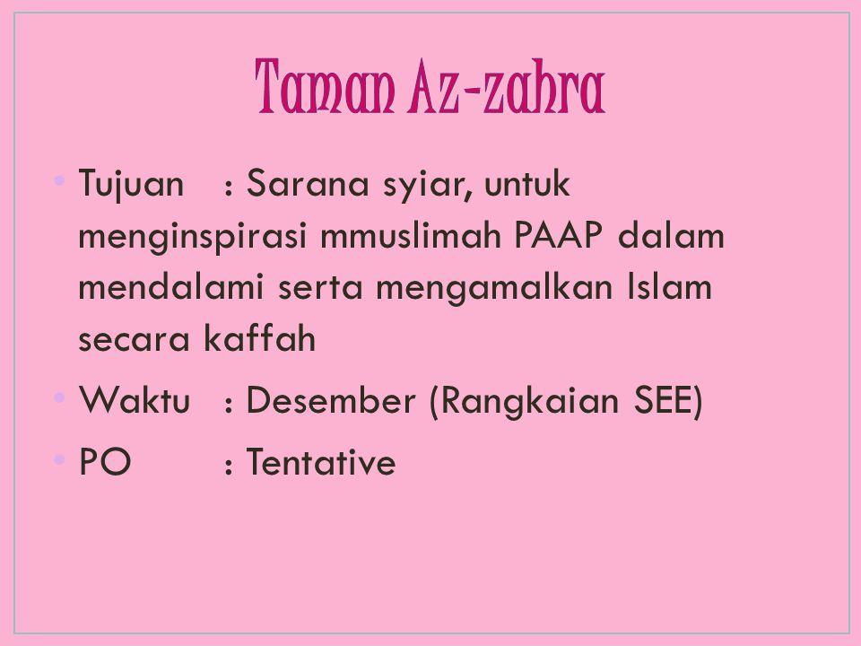 Tujuan : Sarana syiar, untuk menginspirasi mmuslimah PAAP dalam mendalami serta mengamalkan Islam secara kaffah Waktu : Desember (Rangkaian SEE) PO: T