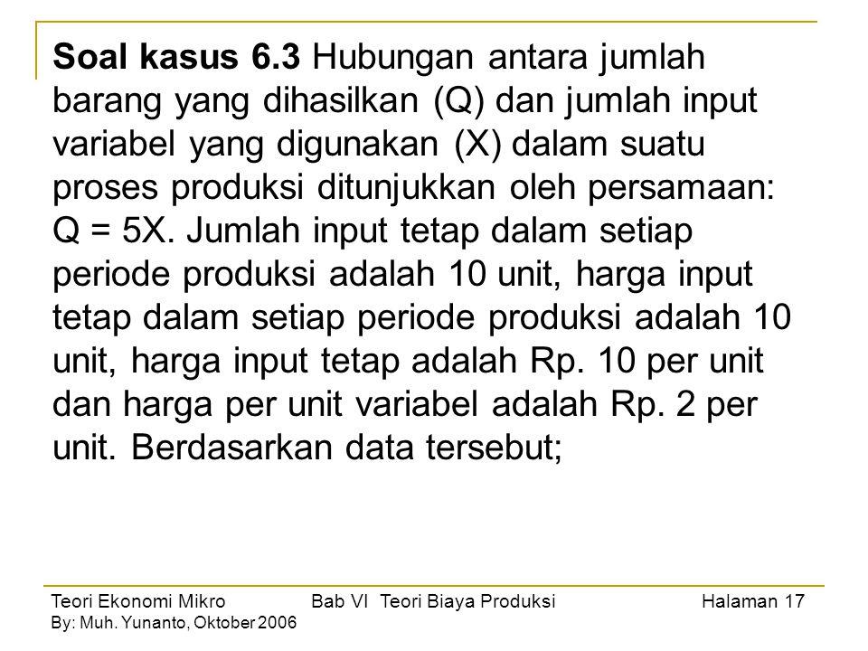 Teori Ekonomi Mikro Bab VI Teori Biaya Produksi Halaman 17 By: Muh. Yunanto, Oktober 2006 Soal kasus 6.3 Hubungan antara jumlah barang yang dihasilkan
