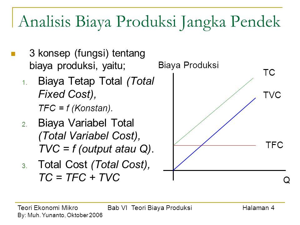 Teori Ekonomi Mikro Bab VI Teori Biaya Produksi Halaman 4 By: Muh. Yunanto, Oktober 2006 Analisis Biaya Produksi Jangka Pendek 3 konsep (fungsi) tenta