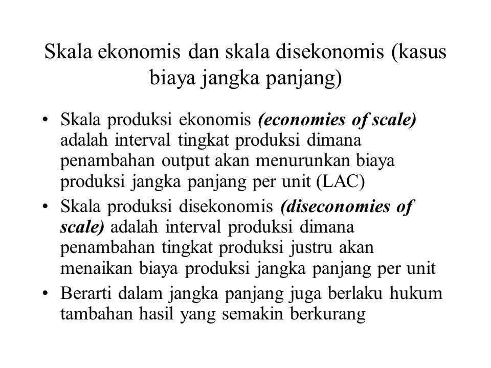 Skala ekonomis dan skala disekonomis (kasus biaya jangka panjang) Skala produksi ekonomis (economies of scale) adalah interval tingkat produksi dimana penambahan output akan menurunkan biaya produksi jangka panjang per unit (LAC) Skala produksi disekonomis (diseconomies of scale) adalah interval produksi dimana penambahan tingkat produksi justru akan menaikan biaya produksi jangka panjang per unit Berarti dalam jangka panjang juga berlaku hukum tambahan hasil yang semakin berkurang