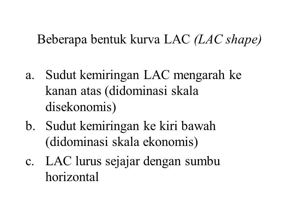 Beberapa bentuk kurva LAC (LAC shape) a.Sudut kemiringan LAC mengarah ke kanan atas (didominasi skala disekonomis) b.Sudut kemiringan ke kiri bawah (didominasi skala ekonomis) c.LAC lurus sejajar dengan sumbu horizontal
