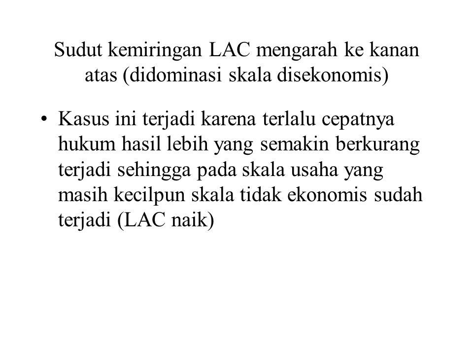 Sudut kemiringan LAC mengarah ke kanan atas (didominasi skala disekonomis) Kasus ini terjadi karena terlalu cepatnya hukum hasil lebih yang semakin berkurang terjadi sehingga pada skala usaha yang masih kecilpun skala tidak ekonomis sudah terjadi (LAC naik)