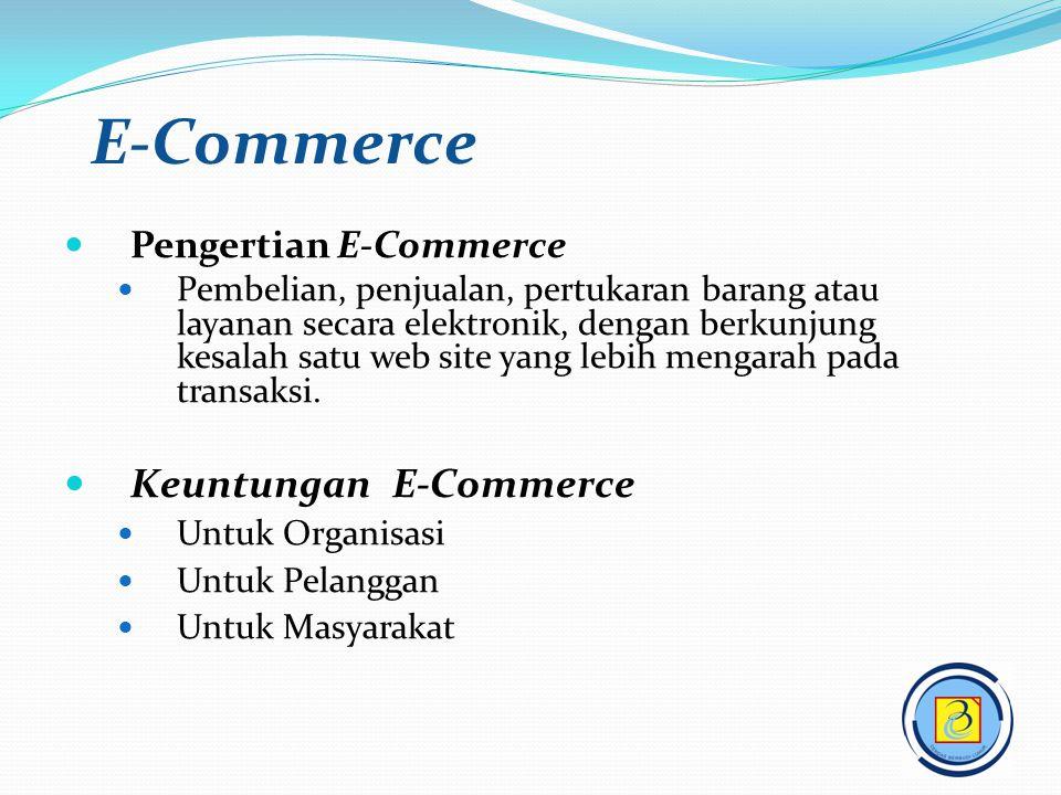 Pengertian E-Commerce Pembelian, penjualan, pertukaran barang atau layanan secara elektronik, dengan berkunjung kesalah satu web site yang lebih menga