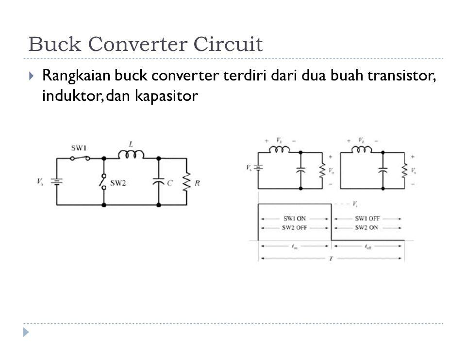 Buck Converter Circuit  Rangkaian buck converter terdiri dari dua buah transistor, induktor, dan kapasitor