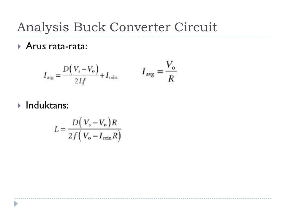 Analysis Buck Converter Circuit  Arus rata-rata:  Induktans: