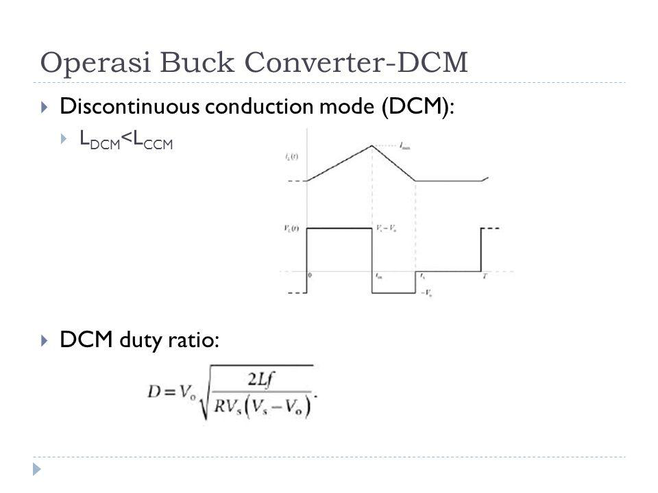Operasi Buck Converter-DCM  Discontinuous conduction mode (DCM):  L DCM <L CCM  DCM duty ratio: