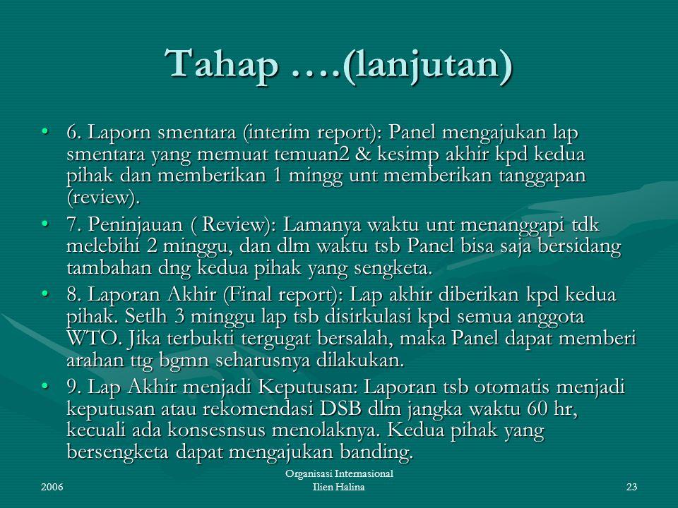 2006 Organisasi Internasional Ilien Halina23 Tahap ….(lanjutan) 6. Laporn smentara (interim report): Panel mengajukan lap smentara yang memuat temuan2