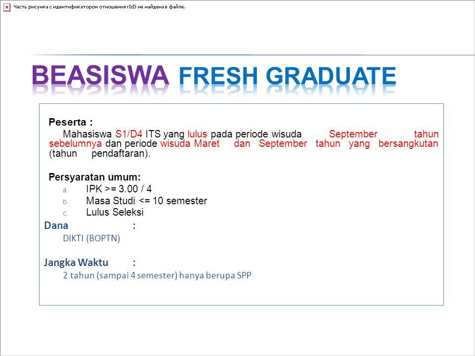 Peserta : Mahasiswa S1/D4 ITS yang lulus pada periode wisuda September tahun sebelumnya dan periode wisuda Maret dan September tahun yang bersangkutan
