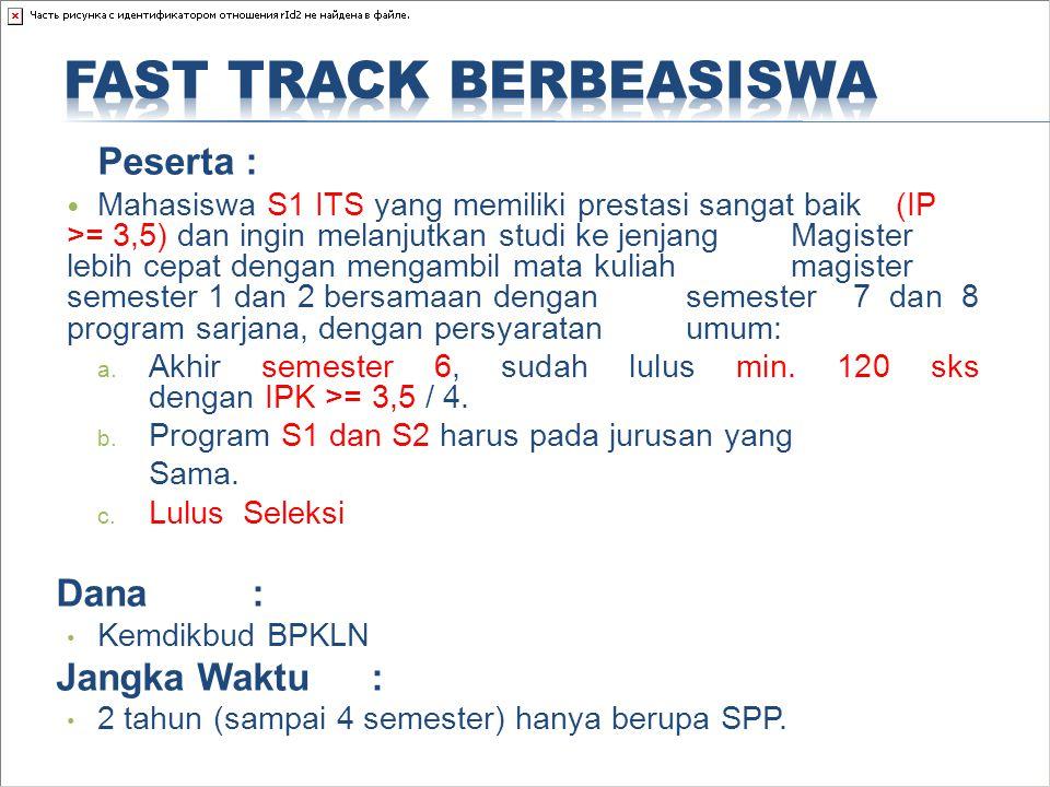 Peserta : Mahasiswa S1 ITS yang memiliki prestasi sangat baik (IP >= 3,5) dan ingin melanjutkan studi ke jenjang Magister lebih cepat dengan mengambil