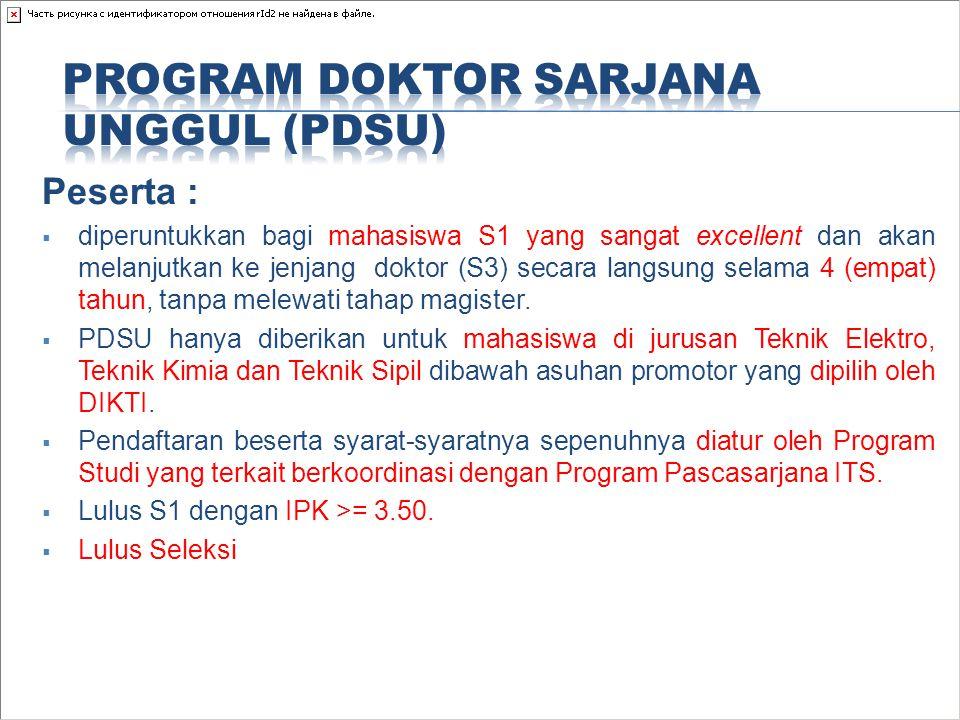 Peserta :  diperuntukkan bagi mahasiswa S1 yang sangat excellent dan akan melanjutkan ke jenjang doktor (S3) secara langsung selama 4 (empat) tahun,