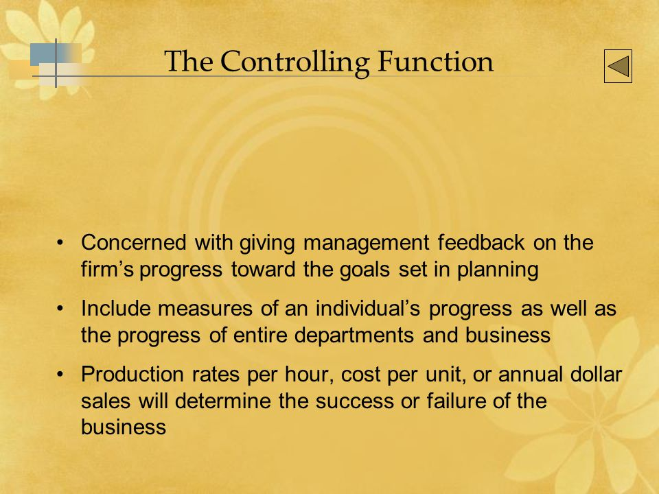 The Controlling Function Concerned with giving management feedback on the firm's progress toward the goals set in planning Include measures of an individual's progress as well as the progress of entire departments and business Production rates per hour, cost per unit, or annual dollar sales will determine the success or failure of the business