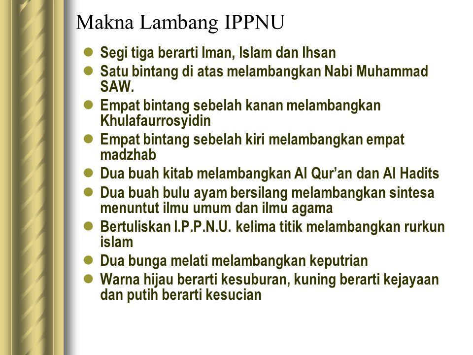 Makna Lambang IPPNU Segi tiga berarti Iman, Islam dan Ihsan Satu bintang di atas melambangkan Nabi Muhammad SAW. Empat bintang sebelah kanan melambang