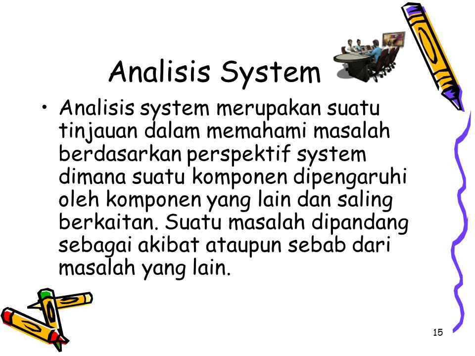 15 Analisis System Analisis system merupakan suatu tinjauan dalam memahami masalah berdasarkan perspektif system dimana suatu komponen dipengaruhi ole