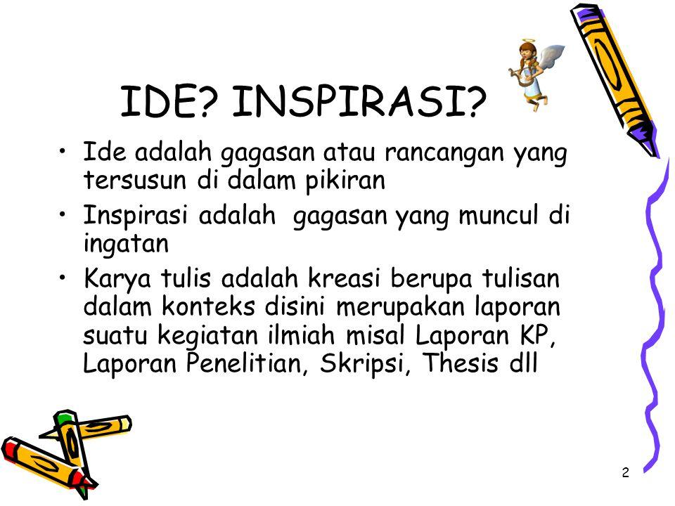 2 IDE? INSPIRASI? Ide adalah gagasan atau rancangan yang tersusun di dalam pikiran Inspirasi adalah gagasan yang muncul di ingatan Karya tulis adalah