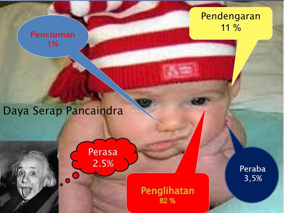 Daya Serap Pancaindra Pendengaran 11 % Penciuman 1% Peraba 3,5% Perasa 2.5%