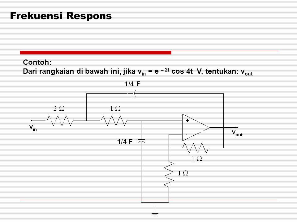 Frekuensi Respons Contoh: Dari rangkaian di bawah ini, jika v in = e – 2t cos 4t V, tentukan: v out