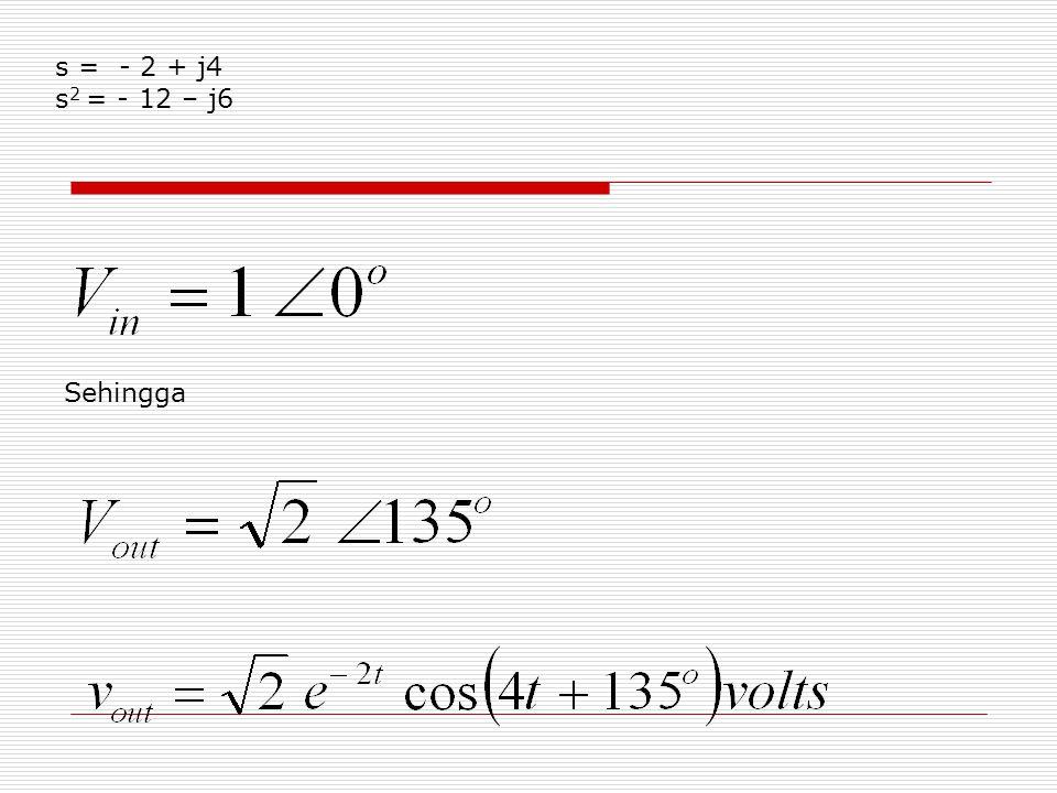 s = - 2 + j4 s 2 = - 12 – j6 Sehingga