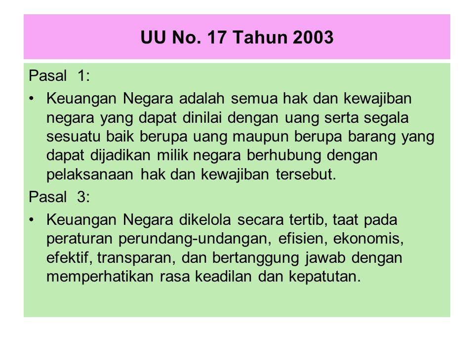 UU No. 17 Tahun 2003 Pasal 1: Keuangan Negara adalah semua hak dan kewajiban negara yang dapat dinilai dengan uang serta segala sesuatu baik berupa ua