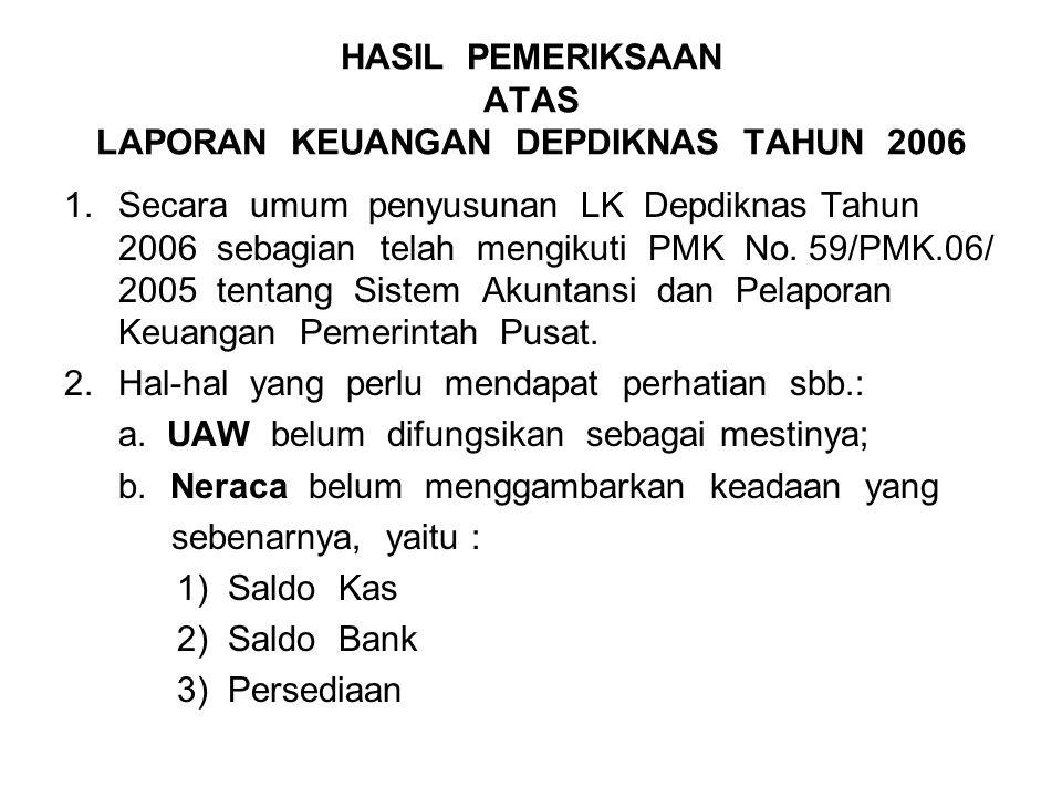 HASIL PEMERIKSAAN ATAS LAPORAN KEUANGAN DEPDIKNAS TAHUN 2006 1.Secara umum penyusunan LK Depdiknas Tahun 2006 sebagian telah mengikuti PMK No. 59/PMK.