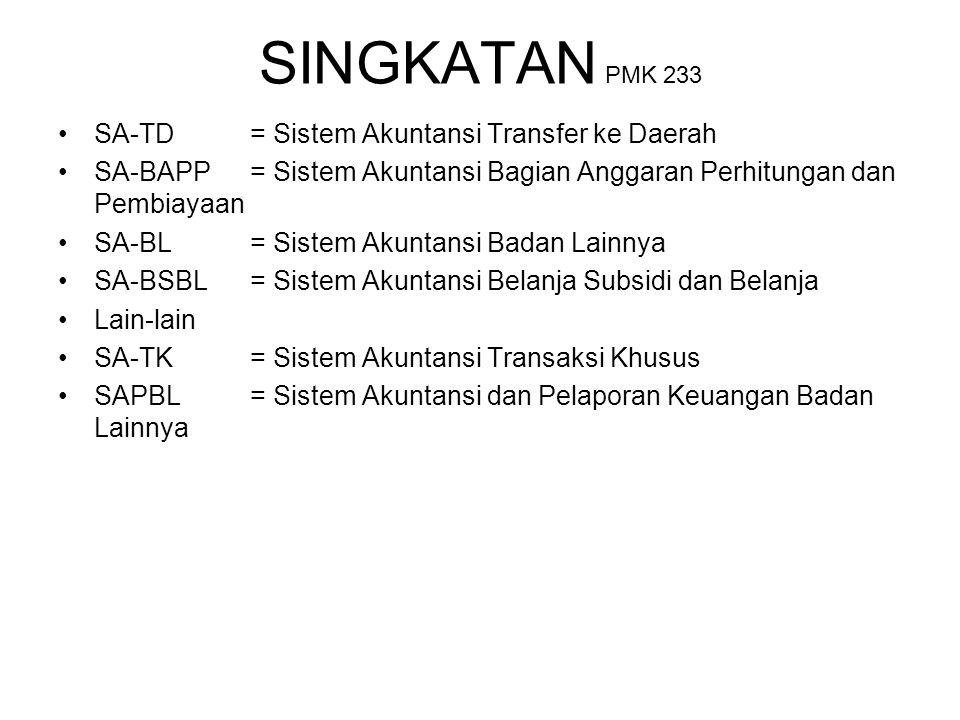 SINGKATAN PMK 233 SA-TD= Sistem Akuntansi Transfer ke Daerah SA-BAPP= Sistem Akuntansi Bagian Anggaran Perhitungan dan Pembiayaan SA-BL= Sistem Akunta