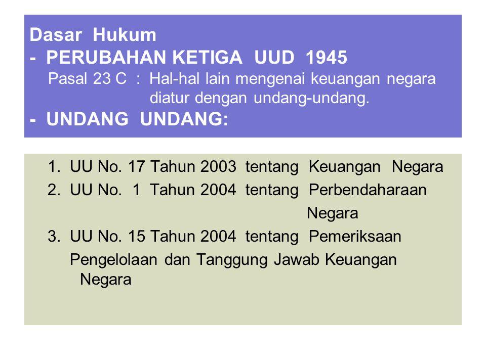 Dasar Hukum - PERUBAHAN KETIGA UUD 1945 Pasal 23 C : Hal-hal lain mengenai keuangan negara diatur dengan undang-undang. - UNDANG UNDANG: 1. UU No. 17