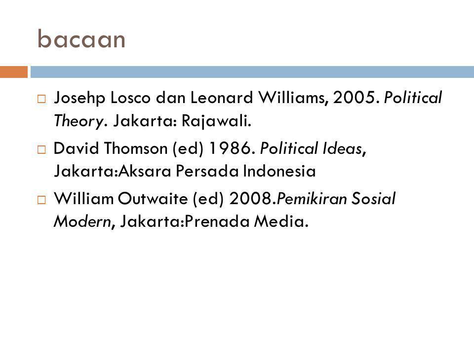 bacaan  Josehp Losco dan Leonard Williams, 2005. Political Theory. Jakarta: Rajawali.  David Thomson (ed) 1986. Political Ideas, Jakarta:Aksara Pers