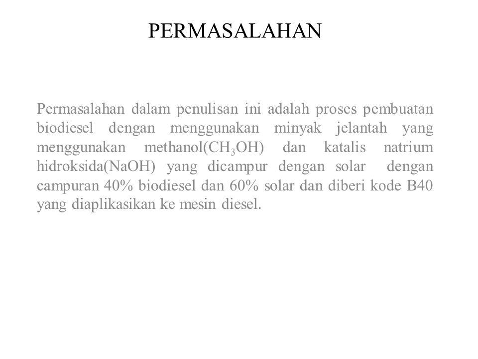PERMASALAHAN Permasalahan dalam penulisan ini adalah proses pembuatan biodiesel dengan menggunakan minyak jelantah yang menggunakan methanol(CH 3 OH)