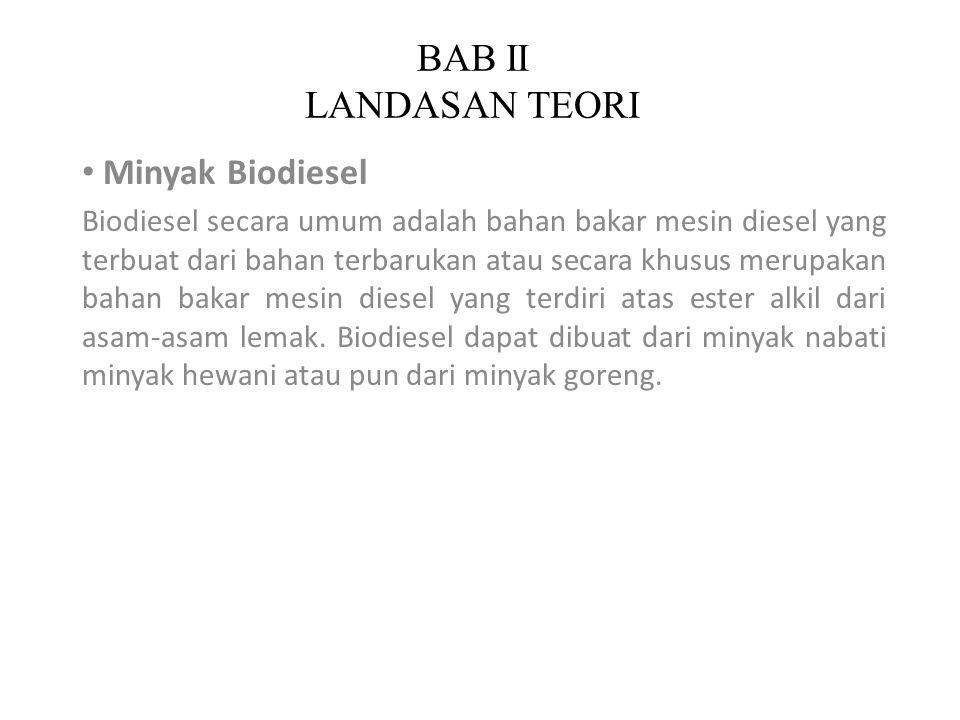 BAB II LANDASAN TEORI Minyak Biodiesel Biodiesel secara umum adalah bahan bakar mesin diesel yang terbuat dari bahan terbarukan atau secara khusus mer