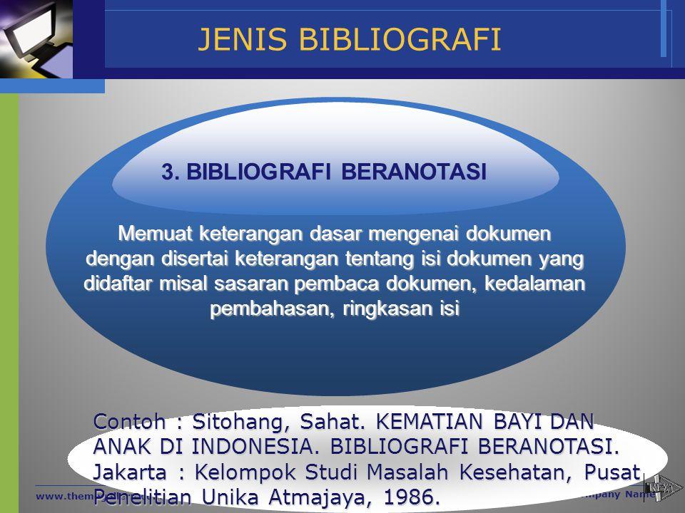 JENIS BIBLIOGRAFI www.themegallery.com Company Name Memuat keterangan dasar mengenai dokumen dengan disertai keterangan tentang isi dokumen yang didaf