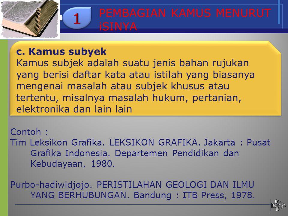 c. Kamus sub c. Kamus subyek Kamus subjek adalah suatu jenis bahan rujukan yang berisi daftar kata atau istilah yang biasanya mengenai masalah atau su