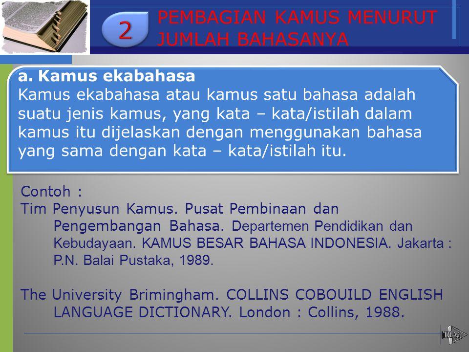 a. Kamus ekabahasa Kamus ekabahasa atau kamus satu bahasa adalah suatu jenis kamus, yang kata – kata/istilah dalam kamus itu dijelaskan dengan menggun